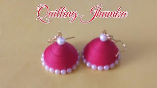 DIY|Jhumka| Quilling jhumka making  without mould|how to make simple jhumka|Red color jhumkas
