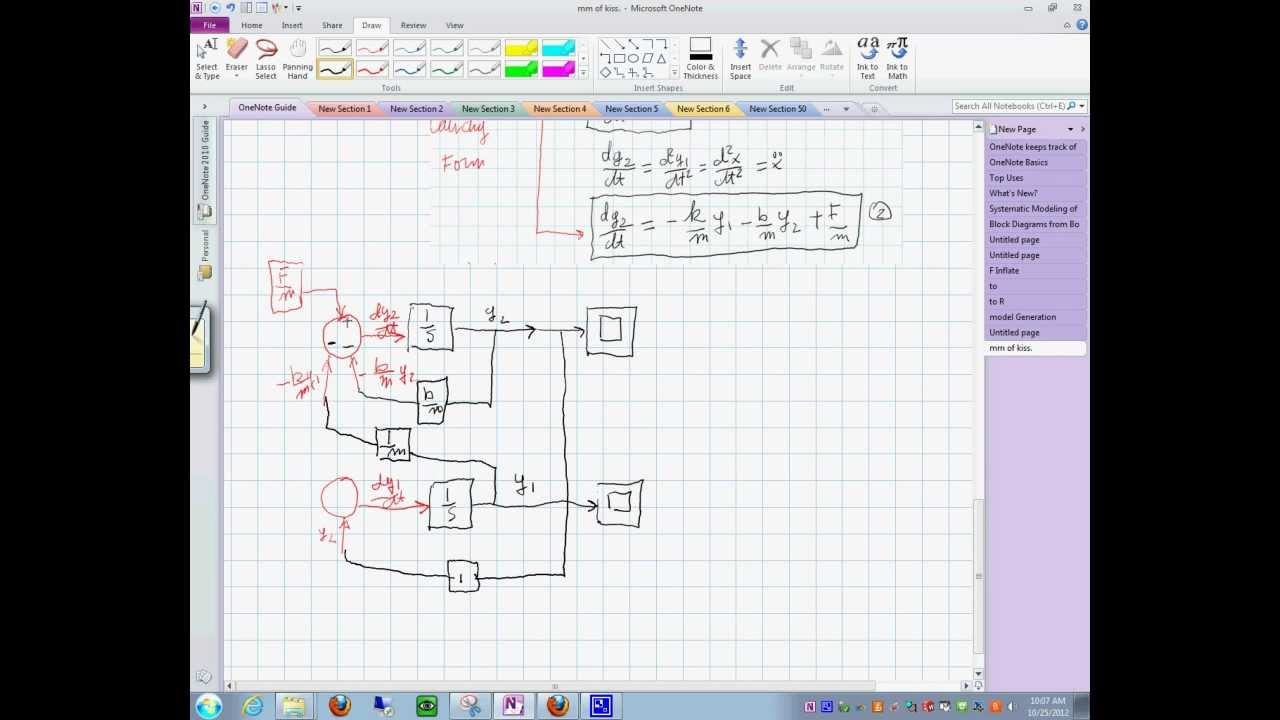 how to draw state space diagram from a differential equation