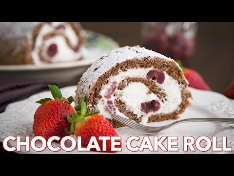 Easy Cherry Chocolate Cake Roll - Natasha's Kitchen