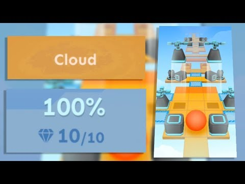 Rolling Sky Tutorial Level 1 Cloud 100% Clear - All Gems | SHA