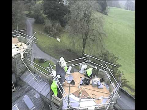 Repairing Wray Castle; work to the porte-cochere turret roof.