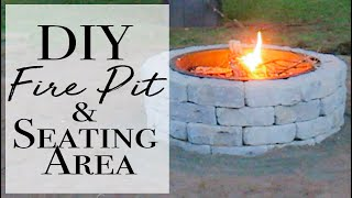 How to Build a Fire Pit and Seating Area ~ Easy Build Fire Pit in Backyard
