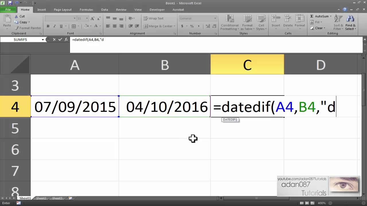 Calculate number of days between two dates excel in Sydney
