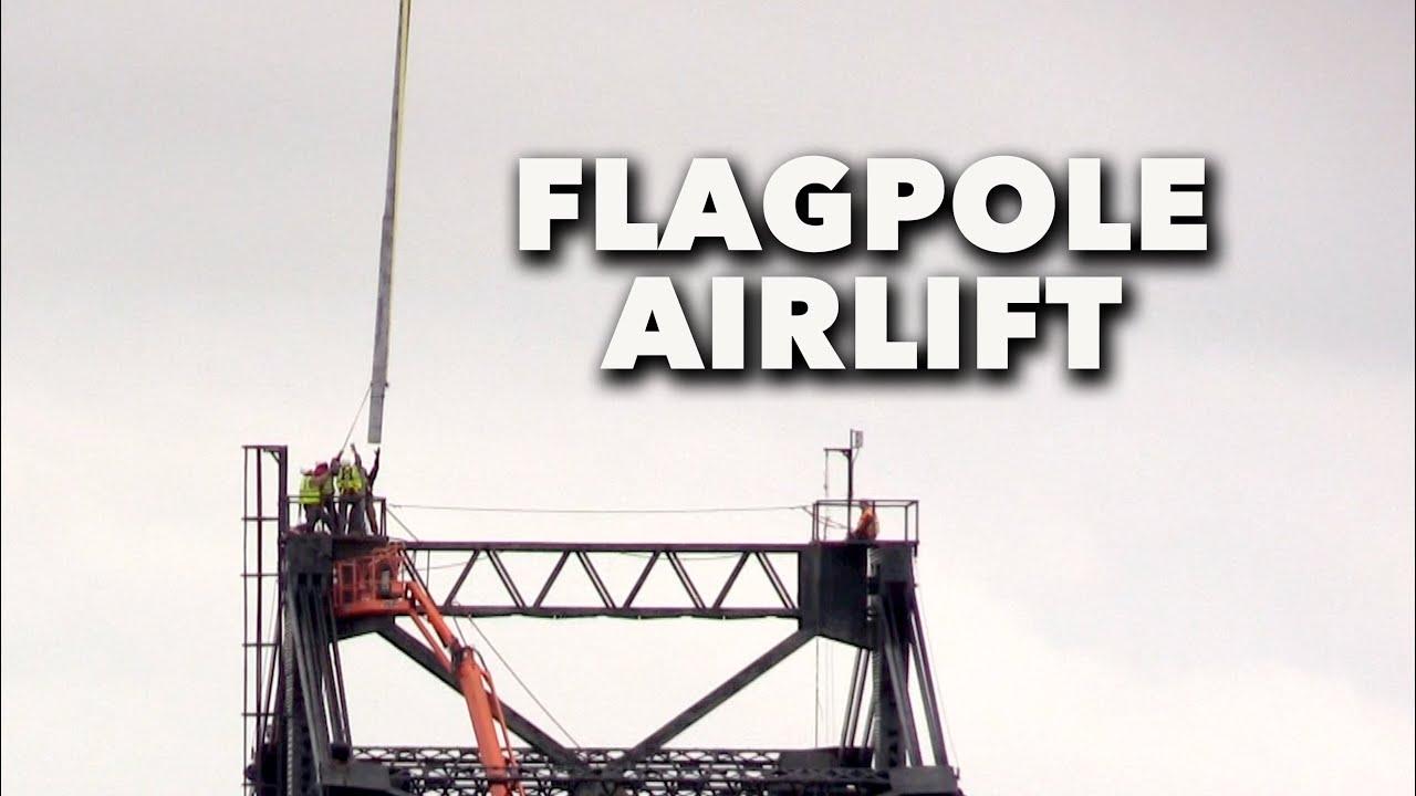 Sikorsky Helicopter Replaces Massive Flagpole on Old Mississippi River Bridge in Vicksburg