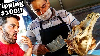 TACO Meat From A PIG's SKULL!! - Mexican Street Food - BEST TACOS EVER!! - Tipping $100 Dollars