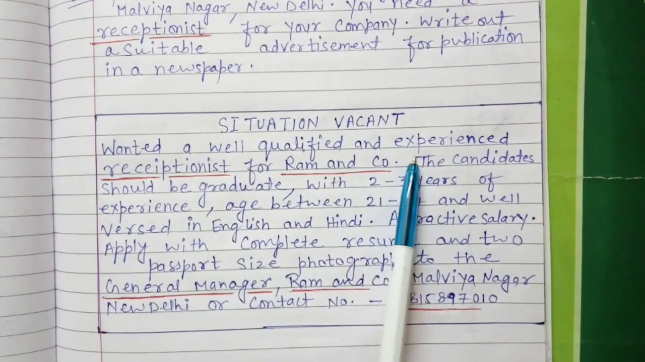 ADVERTISEMENT WRITING ( SITUATION VACANT)25 th CLASS AND 25 th CLASS