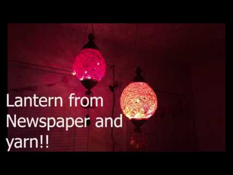 How to make Lantern from Newspaper & Yarn / Diwali &  Christmas decor