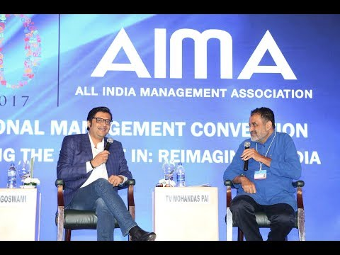 Arnab Goswami & MohanDas Pai discuss News Industry at AIMA's NMC