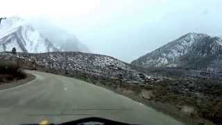 Drive from Highway 395 to Convict Lake. Eastern Sierras in California.