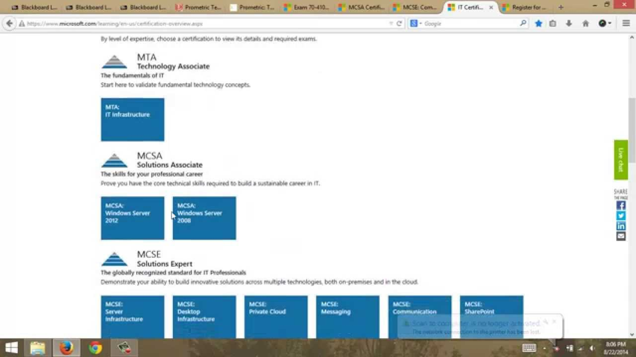 Microsoft Server Certifications Explanation For Co235 Grcc Youtube