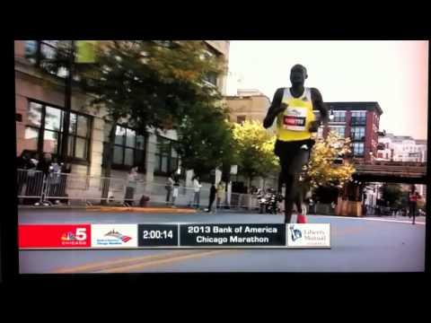 Dennis Kimetto from Kenya wins the Bank of America Chicago Marathon 2013