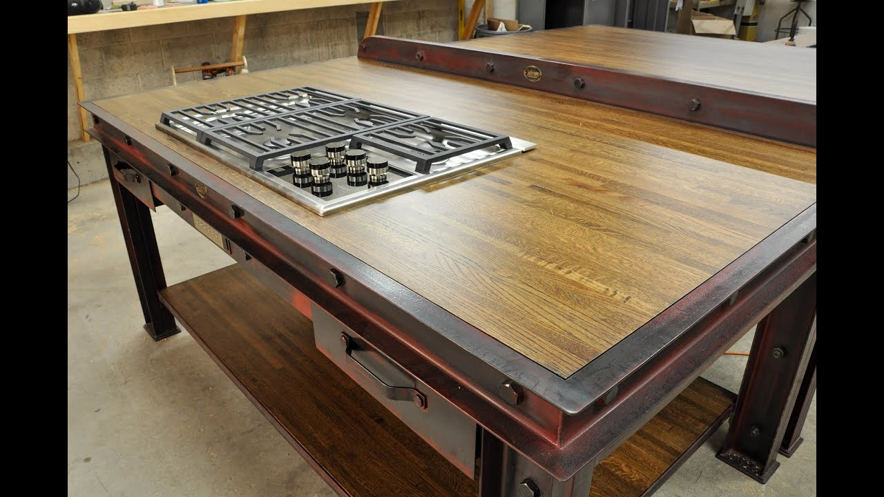 kitchen workbench tables with storage vintage industrial island youtube