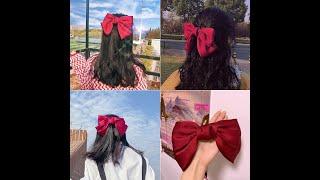 Заколка пряжка женская атласная с большим бантом модный зажим для волос аксессуар на голову 1 шт