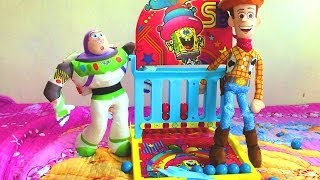 toy story 3 woody and buzz lightyear play spongebob squarepants ball launcher game