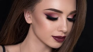 Burgundy Smokey Eyes & Bold Lips Makeup Tutorial | FALL MAKEUP