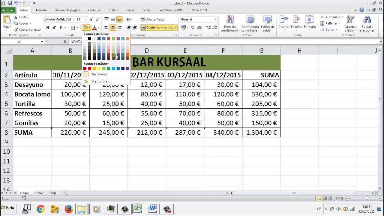 EXAMEN UD05 Ejercicio 1 Autosumas Hoja de calculo Excel OACE FPB2 ...