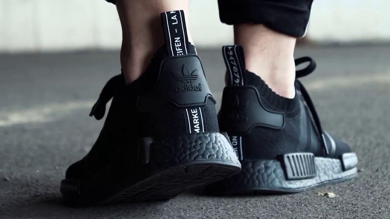 Adidas NMD R1 Primeknit Japan Triple Black BZ0220 - YouTube efa15fe0c