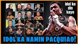 SIKAT na HOLLYWOOD ACTORS, MMA FIGHTERS at KILALANG ATHLETES | FANS ni MANNY PACQUIAO