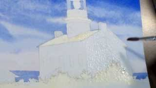 How to paint a Lighthouse in Watercolor: Step 4 - Adding Shadows to the Buildings