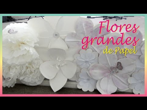 Como fazer flores grandes de papel youtube for Como quitar papel mural