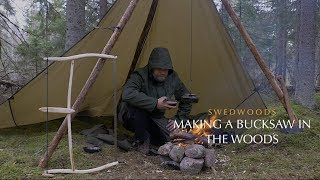 Bushcraft Wild Camping in the Rain - Making a Bucksaw in the Woods - Coffee and Bacon - Tarp Shelter
