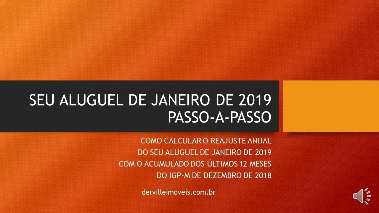 Reajuste De Aluguel De Janeiro De 2019 Pelo Igp M De