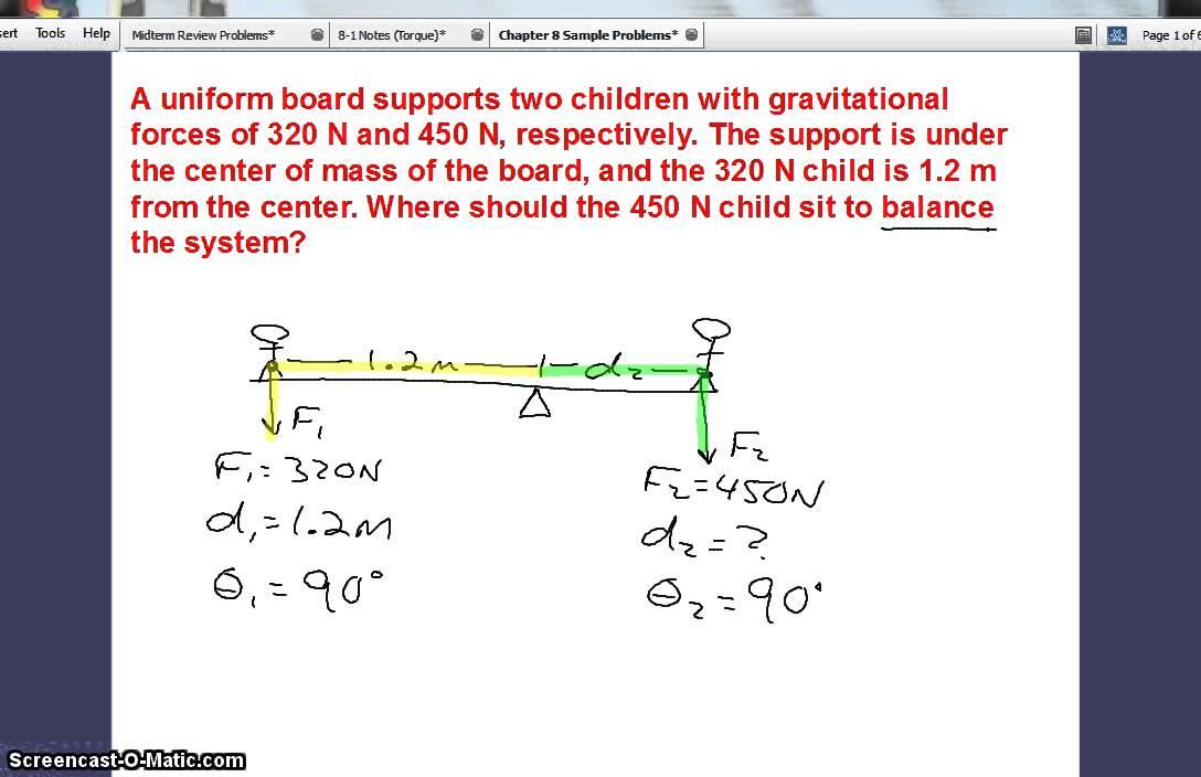 how to solve torque equilibrium problems