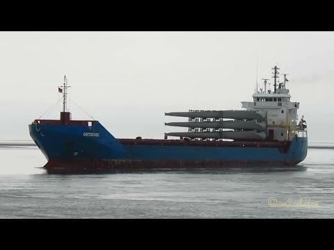 cargo seaship OSTBENSE V2FC5 IMO 9566784 inbound Emden with windcraft blades merchant vessel