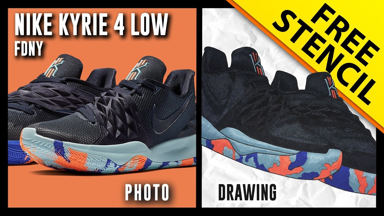 new arrival cb529 fc882 Nike Kyrie 4 Low FDNY - Sneaker Drawing w  FREE Stencil