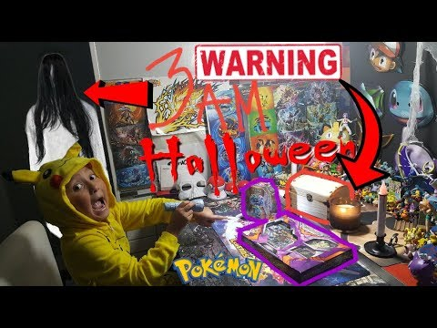 DO NOT OPEN POKEMON CARDS AT 3AM! HALLOWEEN OVERNIGHT CHALLENGE! WARNING! SCARY! PAULA IS BACK!