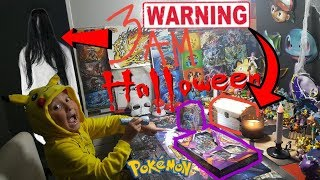 DO NOT OPEN POKEMON CARDS AT 3AM HALLOWEEN OVERNIGHT CHALLENGE WARNING SCARY PAULA IS BACK