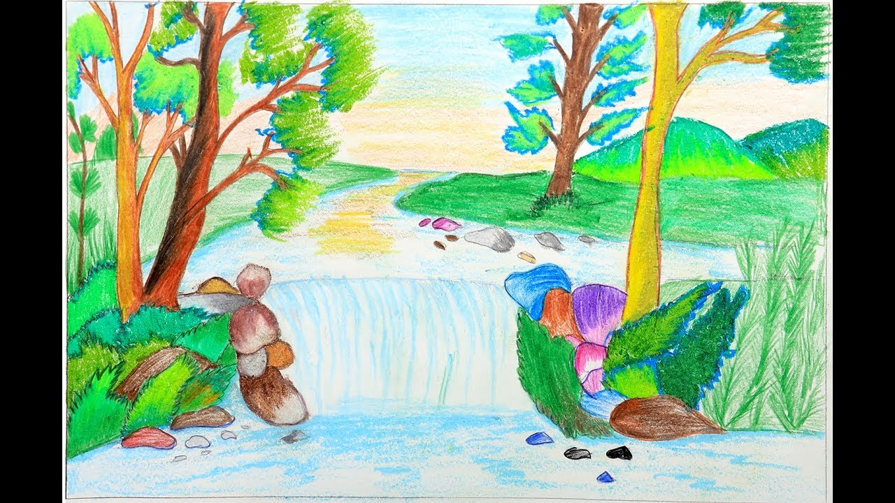 How To Draw A Scenery Of Stream Waterfall Easy Drawing For Kids