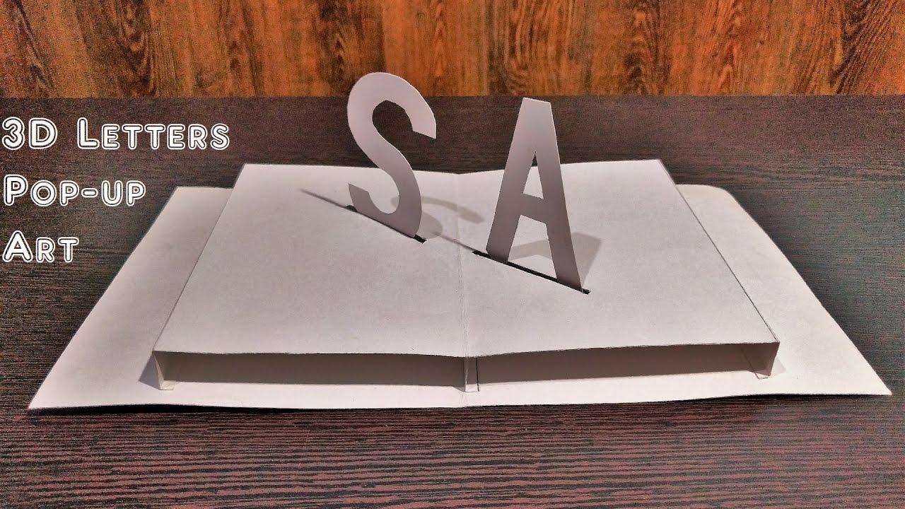 How to Make 3D Letters Pop Up Art Pop up cards SKM