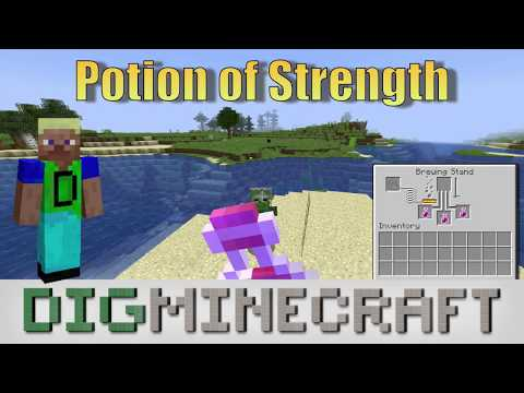 How to make a Potion of Strength (3:00) in Minecraft