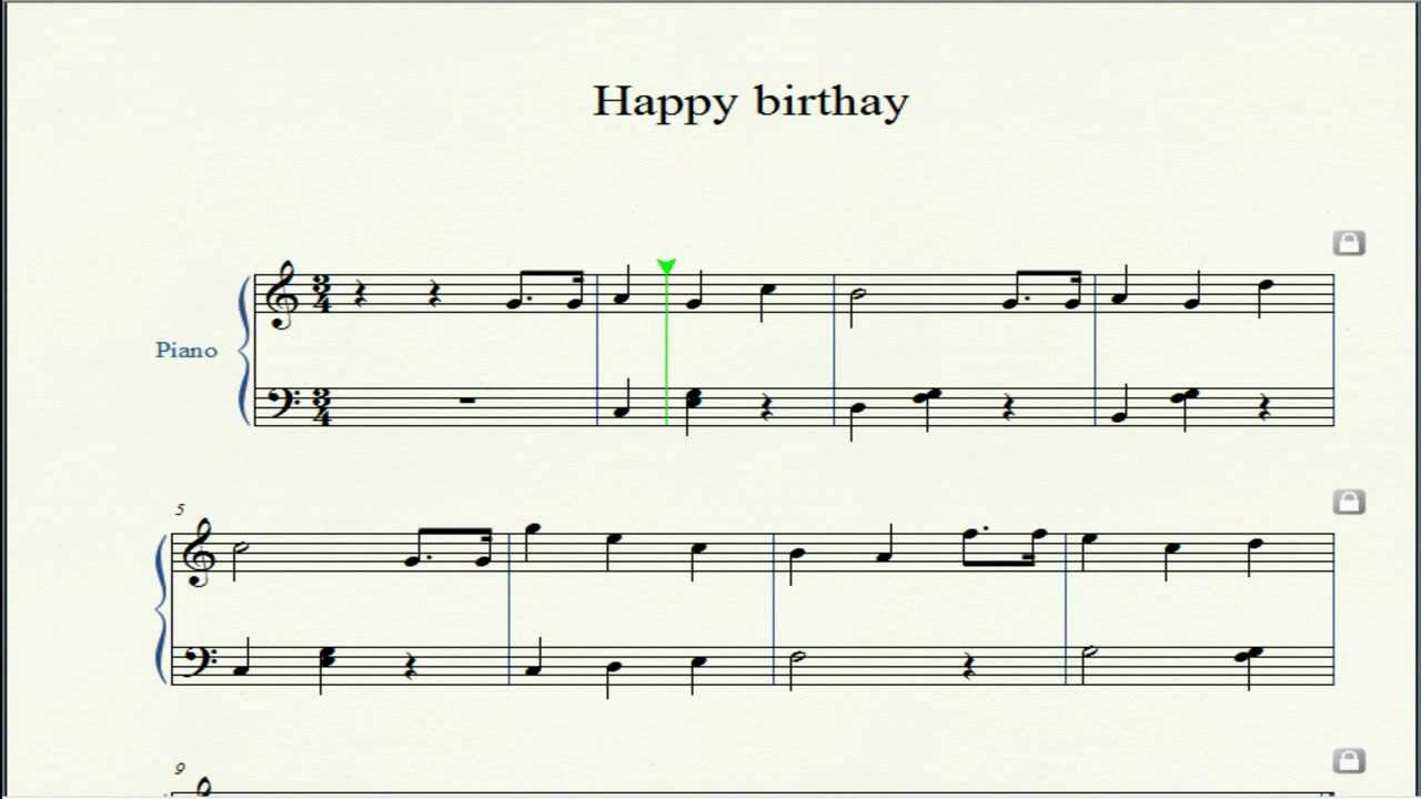 Happy Birthday Piano with score by OBM - YouTube