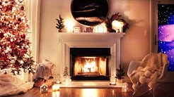Crackling Fireplace ambience with Falling snow and Christmas tree
