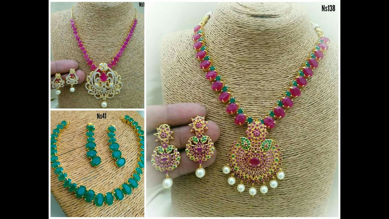 Latest Beautiful Ruby Emerald Pearls Necklace One