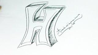 How to draw H   Como dibujar la H