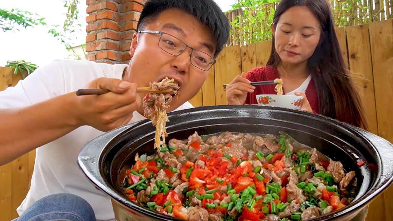 农村小院牛肉煲,大sao夫妻俩吃牛肉大餐,大块牛肉大口锅,过瘾!【徐大sao】