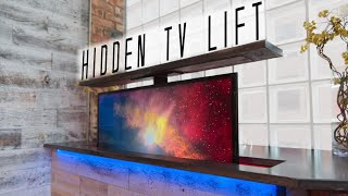 DIY Concrete Countertop w/ HIDDEN TV LIFT || How to Make