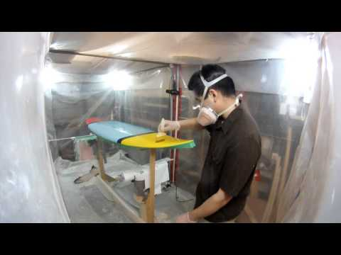 Gloss Coating the Deck of a Custom Painted Surfboard