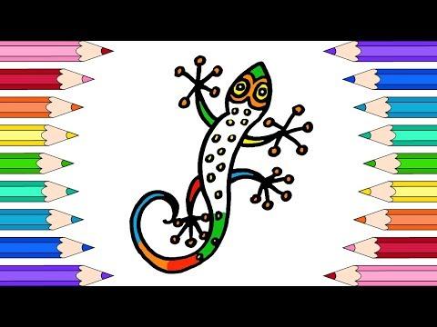 Как Нарисовать Ящерицу🌼Раскраски для Детей Ящерица🌼Мультик Раскраска