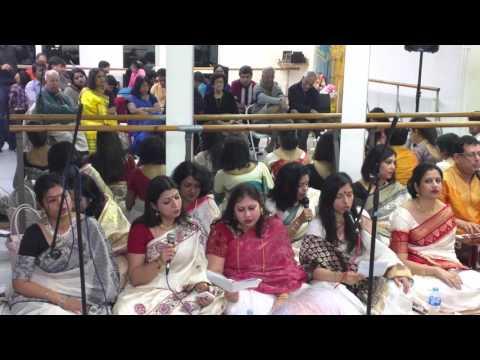 Group song at Saraswati Puja in Anandoda club