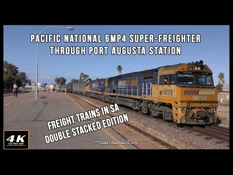 Pacific National 6MP4 Super-Freighter Through Port Augusta Station 13/7/19