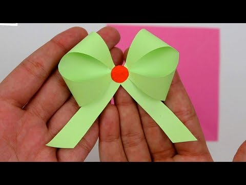 How to Make/Fold Easy Paper Ribbon Bow Not Origami Step by Step Tutorial for Gift Decoration Ideas