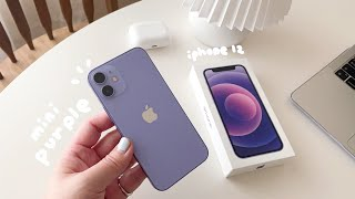 (ENG CC) ✨iPhone 12 mini unboxing   purple   AirPods Pro & accessories   아이폰12 미니 퍼플