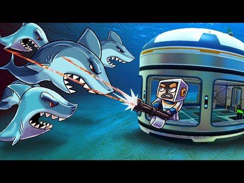 Minecraft | UNDERWATER BASE CHALLENGE - Shark Attack Swarm! (Shark Base Defense)