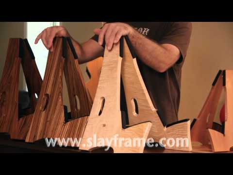 Slay-Frame Wood guitar stands demo. video