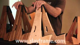 Slay-frame Wood Guitar Stands Demo. Video