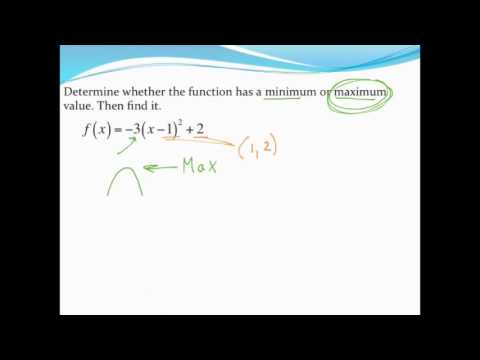 finding a min max value of a parabola in vertex form youtube